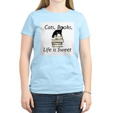 Cat on Books T-Shirt