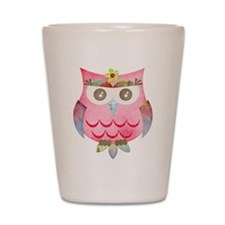 Pink Gypsy Owl Shot Glass