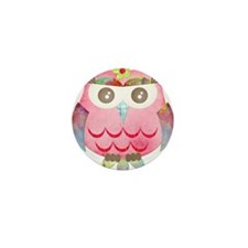 Pink Gypsy Owl Mini Button (100 pack)