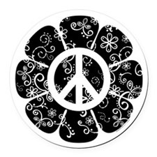 Peace Flower Round Car Magnet