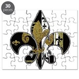 Fleur de lis bling black and gold Puzzle