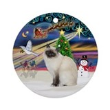 Christmas Magic-Birman Cat Ornament (Round)