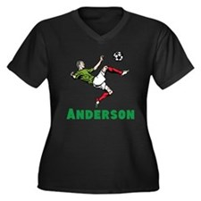 Personalized Soccer Women's Plus Size V-Neck Dark
