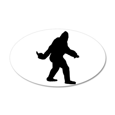 Bigfoot Flips The Bird 20x12 Oval Wall Decal