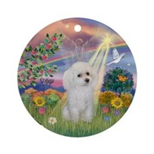 Cloud Angel & White Poodle Ornament (Round)