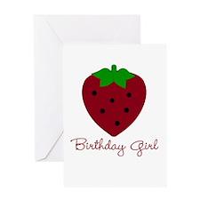 Red Strawberry Birthday Girl Greeting Card