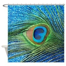 Glittery Blue Peacock Shower Curtain