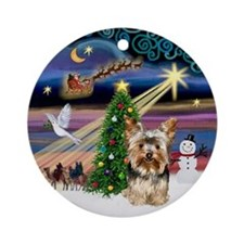 Xmas Magic & Yorkie (17) Ornament (Round)