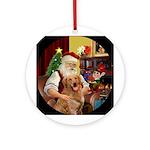 Santa's Golden Retriever (B2) Ornament (Round)