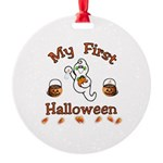 Babys First Halloween Round Ornament