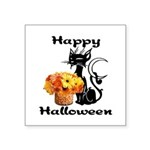 "Halloween Black Cat Square Sticker 3"" x 3&quo"