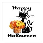 "Halloween Black Cat Square Car Magnet 3"" x 3&"