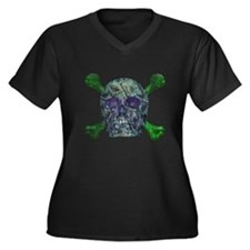 Skull money Women's Plus Size V-Neck Dark T-Shirt