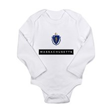 Massachusetts State Flag Long Sleeve Infant Bodysu