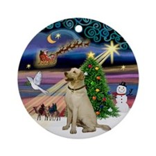 Xmas Magic & Yellow Lab Ornament (Round)
