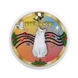 XmasMusic(Gr)-Whtie Cat Ornament (Round)