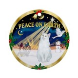 Xmas Sunrise - White Cat Ornament (Round)