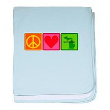 Peace Love Michigan baby blanket