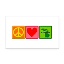 Peace Love Michigan Rectangle Car Magnet