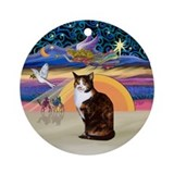 Christmas Angel-Calico Cat Ornament (Round)