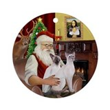 Santa's Two Siamese cats Ornament (Round)