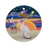 Christmas Angel - Siamese cat Ornament (Round)