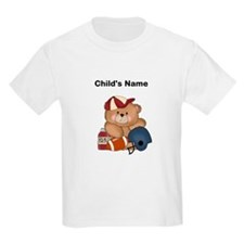 Personalized Football Teddy Bear Kids T-shirt