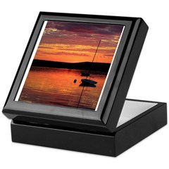 Solitary Sailboat at Sundown Keepsake Box