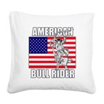 American Bull Rider Square Canvas Pillow