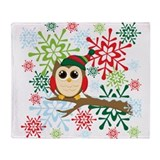Christmas owl Throw Blanket