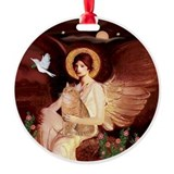 Angel3 - Orange Tabby cat Round Ornament