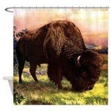 Vintage Bison Painting Shower Curtain