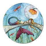 Colorful Mermaid Fantasy Art Round Car Magnet