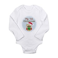 My 1st Christmas owl (boy) Long Sleeve Infant Body