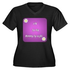 LPN by day Mommy by night Women's Plus Size V-Neck