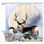 Buck deer moon Shower Curtain