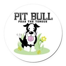 Pit Bull Fear the Tongue Round Car Magnet