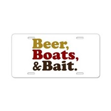 Beer Boats and Bait Fishing Aluminum License Plate