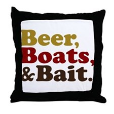 Beer Boats and Bait Fishing Throw Pillow