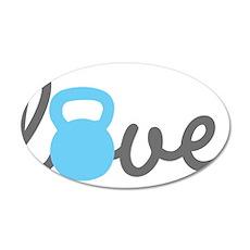 Love Kettlebell Blue 35x21 Oval Wall Decal