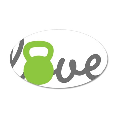 Love Kettlebell Green 35x21 Oval Wall Decal