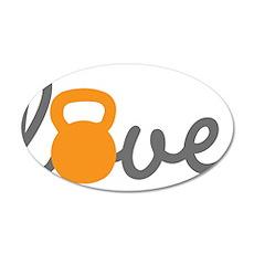 Love Kettlebell in Orange 20x12 Oval Wall Decal