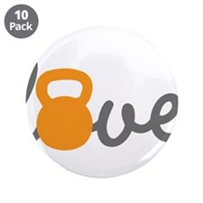 "Love Kettlebell in Orange 3.5"" Button (10 pack)"