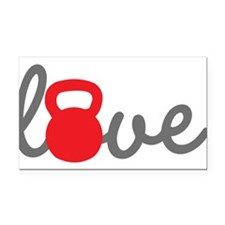 Love Kettlebell in Red Rectangle Car Magnet