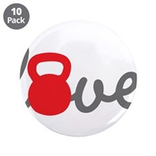 """Love Kettlebell in Red 3.5"""" Button (10 pack)"""