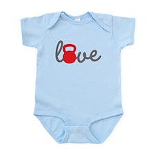 Love Kettlebell in Red Infant Bodysuit