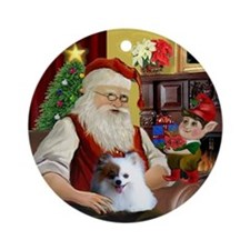 Santa's Parti Pom (red & White) Ornament (Round)