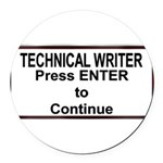 TechWriterPlate.png Round Car Magnet
