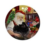 Santa's Black Pomeranian Ornament (Round)