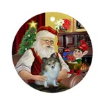 Santa's Sable & White Pomeranian Ornament (Rou